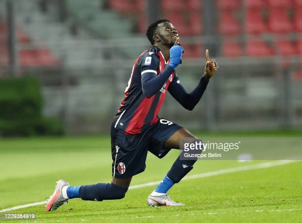 Musa Barrow of Bologna FC celebrates after scoring goal 3-2 during the Serie A match between Bologna FC and Cagliari Calcio at Stadio Renato Dall'Ara...