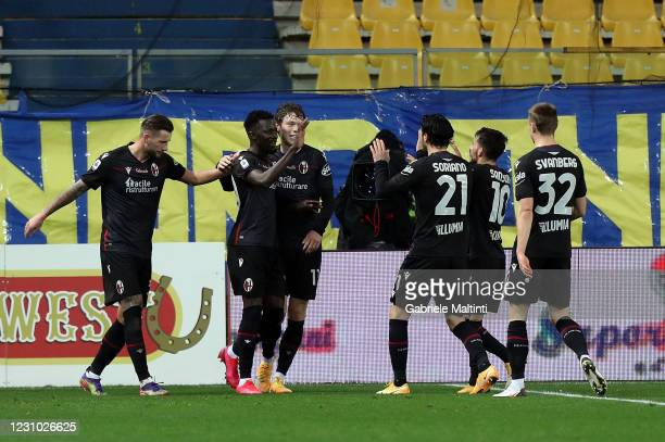 Musa Barrow of Bologna FC celebrates after scoring his second goal during the Serie A match between Parma Calcio and Bologna FC at Stadio Ennio...