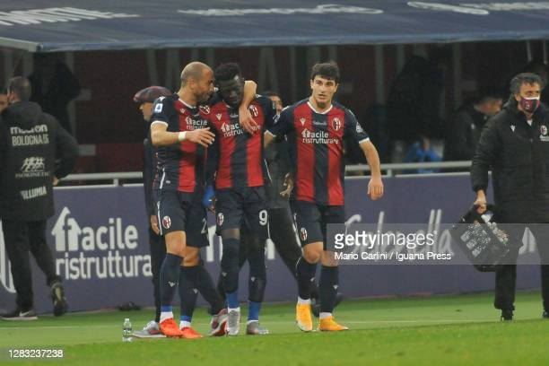Musa Barrow of Bologna FC celebrates after scoring his team's third goal during the Serie A match between Bologna FC and Cagliari Calcio at Stadio...