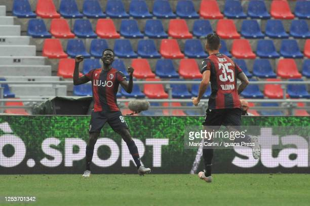 Musa Barrow of Bologna FC celebrates after scoring the opening goal during the Serie A match between Bologna FC and Cagliari Calcio at Stadio Renato...