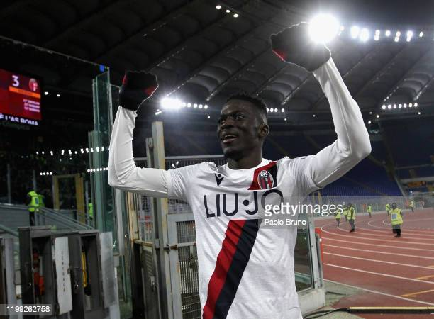 Musa Barrow of Bologna FC celebrates after scoring the team's third goal during the Serie A match between AS Roma and Bologna FC at Stadio Olimpico...