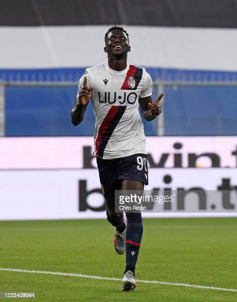 Musa Barrow of Bologna FC celebrates goal during the Serie A match between UC Sampdoria and Bologna FC at Stadio Luigi Ferraris on June 28 2020 in...