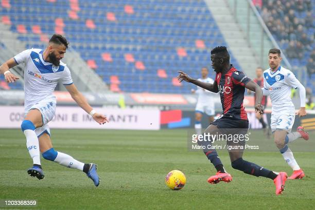 Musa Barrow of Bologna FC in action during the Serie A match between Bologna FC and Brescia Calcio at Stadio Renato Dall'Ara on February 01 2020 in...