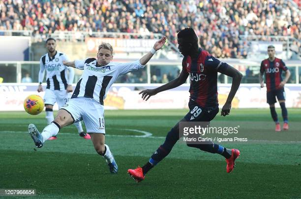 Musa Barrow of Bologna FC in action during the Serie A match between Bologna FC and Udinese Calcio at Stadio Renato Dall'Ara on February 22 2020 in...