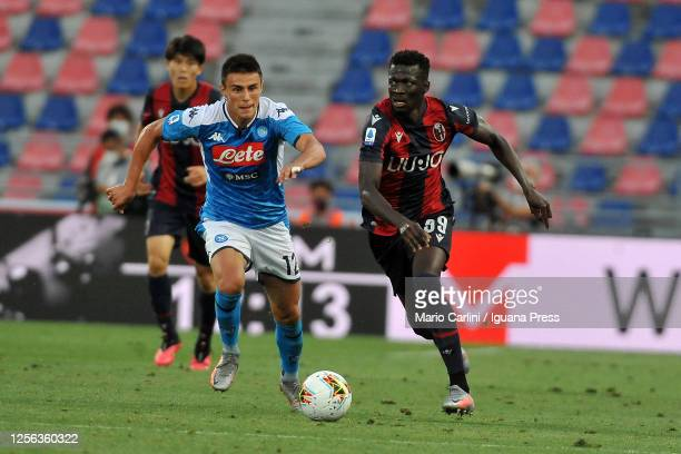 Musa Barrow of Bologna FC in action during the Serie A match between Bologna FC and SSC Napoli at Stadio Renato Dall'Ara on July 15 2020 in Bologna...