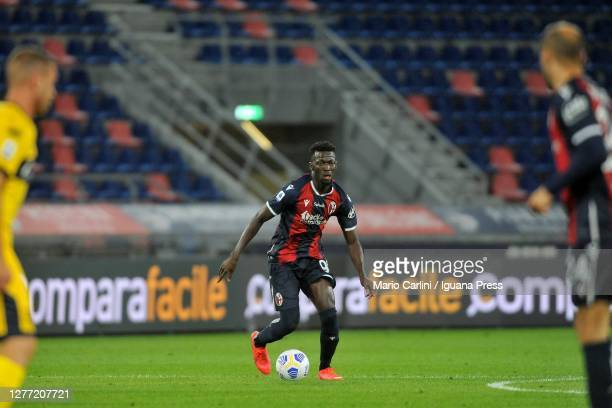 Musa Barrow of Bologna FC in action during the Serie A match between Bologna FC and Parma Calcio at Stadio Renato Dall'Ara on September 28, 2020 in...