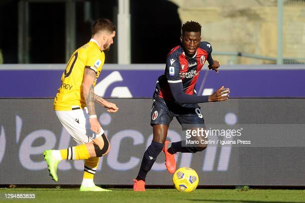 Musa Barrow of Bologna FC in action during the Serie A match between Bologna FC and Udinese Calcio at Stadio Renato Dall'Ara on January 06, 2021 in...