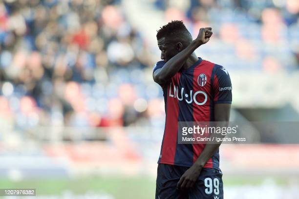 Musa Barrow of Bologna FC looks on during the Serie A match between Bologna FC and Udinese Calcio at Stadio Renato Dall'Ara on February 22 2020 in...