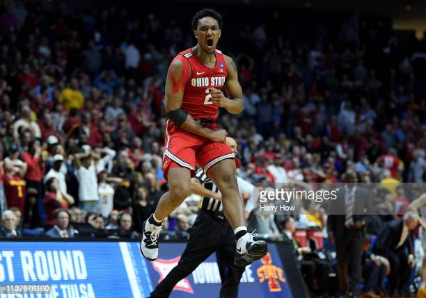 Musa Jallow of the Ohio State Buckeyes celebrates after defeating the Iowa State Cyclones in the first round game of the 2019 NCAA Men's Basketball...