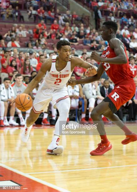 Musa Jallow of the Ohio State Buckeyes dribbles the ball to the hoop during the game between the Ohio State Buckeyes and the Rutgers Scarlet Knights...