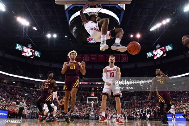 Musa Jallow of the Ohio State Buckeyes finishes off a fast break with a dunk in the first half the Minnesota Golden Gophers on December 2 2018 at...