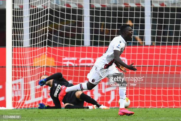 Musa Juwara of Bologna celebrates after scoring the firts goal during the Serie A match between FC Internazionale and Bologna FC at Stadio Giuseppe...