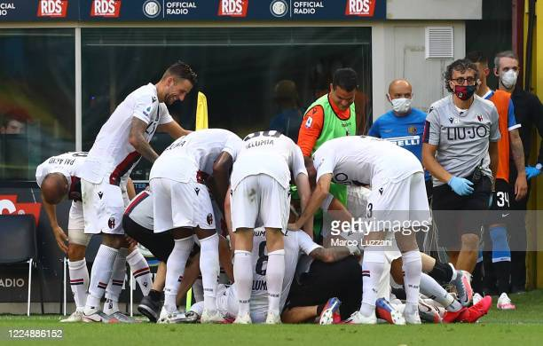 Musa Juwara of Bologna FC celebrates his goal with his teammates during the Serie A match between FC Internazionale and Bologna FC at Stadio Giuseppe...
