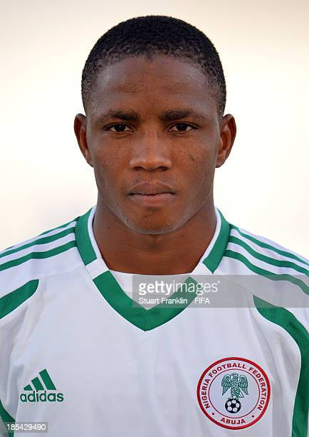 Musa Yahaya of Nigeria looks on during the FIFA U17 World Cup group F match between Mexico and Nigeria at Khalifa Bin Zayed Stadium on October 19...