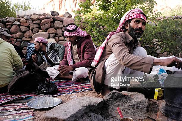 Musallem Abu Faraj is a bedouin guide leading tourists hiking through the mountains of South Sinai on April 17 2015 near St Catherine Egypt Bedouins...