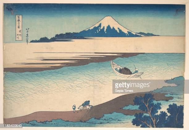 Musashi Province, from the series Thirty-six Views of Mount Fuji , Edo period , circa 1830-32, Japan, Polychrome woodblock print; ink and color on...