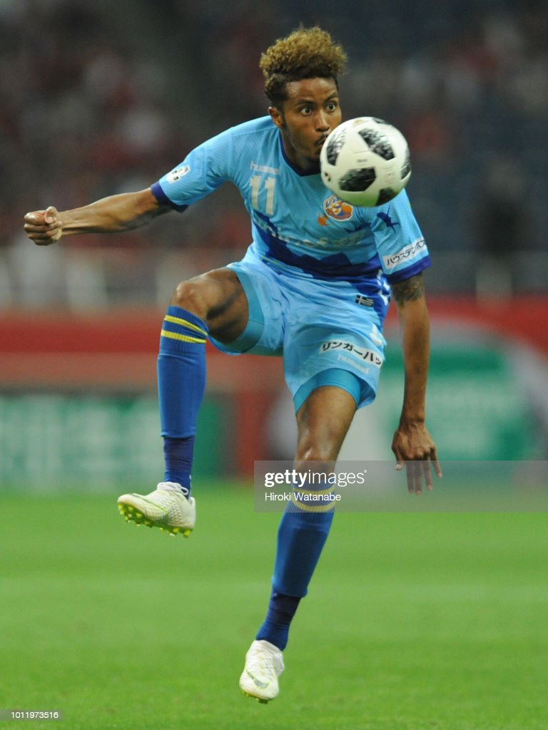Musashi Suzuki of V-Varen Nagasaki in action during the J.League J1 match between Urawa Red Diamonds and V-Varen Nagasaki at Saitama Stadium on August 5, 2018 in Saitama, Japan.