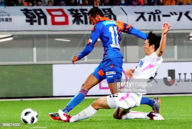 Musashi Suzuki of VVaren Nagasaki scores his side's second goal during the JLeague J1 match between VVaren Nagasaki and Sagan Tosu at Transcosmos...