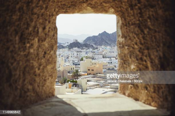 muscat city from fort - muscat governorate stock pictures, royalty-free photos & images