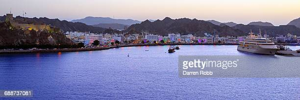 muscat harbour at sunset, muscat, oman - muscat governorate stock pictures, royalty-free photos & images