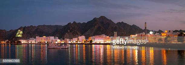Muscat harbour panorama at dusk, Oman