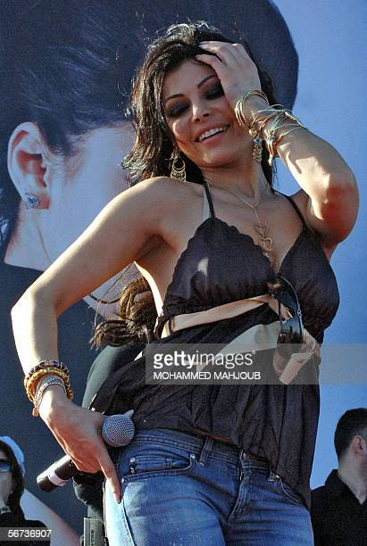 Lebanese pop star Haifa Wehbi performs during the monthlong Muscat Festival 03 February 2006 in the Omani capital AFP PHOTO/MOHAMMED MAHJOUB
