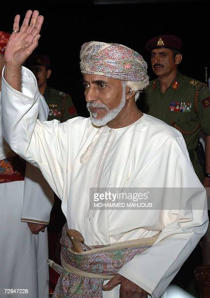 Omans Sultan Qaboos bin Said waves upon his arrival 08 January 2007 to attend the annual Equestrian Show at the Royal Horse Racing Club in Muscat AFP...