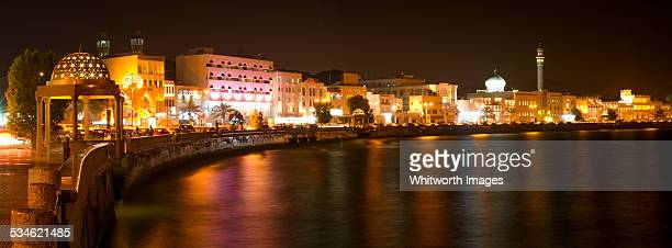 muscat waterfront by night - muscat governorate stock pictures, royalty-free photos & images