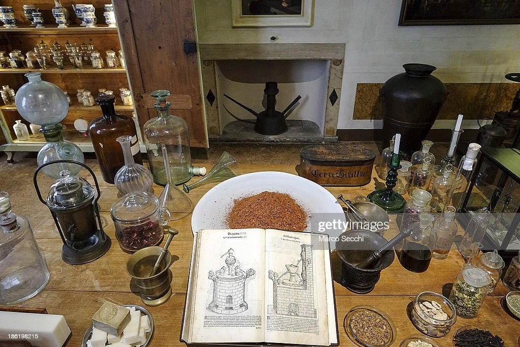 A 'Muschiere' (perfumer) laboratory with many instruments and essences is shown after its reconstruction at the perfume exhibition on October 29, 2013 in Venice, Italy. The new perfume section at the Venetian Museum of eighteenth-century lifestyle Palazzo Mocenigo will open on the 1st of November.