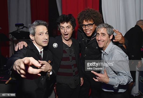 Muscians AdRock Billie Joe Armstrong Jake Clemons and Dave Wish pose for a picture backstage at The 6th Annual Little Kids Rock Benefit presented by...