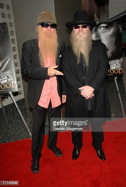 Muscians Billy Gibbons and Dusty Hill of ZZ Top arrive at the premiere of HBO's 'Deadwood Season 3' held at The Cinerama Dome on June 6 2006 in...