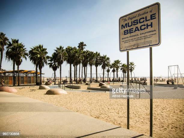 Muscle Beach at Santa Monica Beach, California, USA.