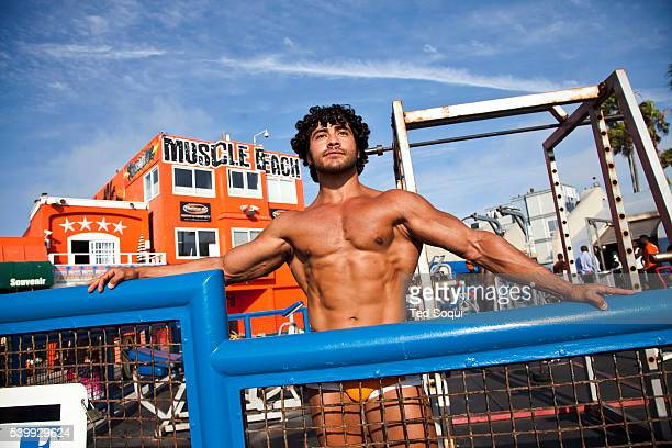 Muscle Beach at Venice with body builder Bishoy Hanna Scenes on the boardwalk of Venice Beach in Los Angeles