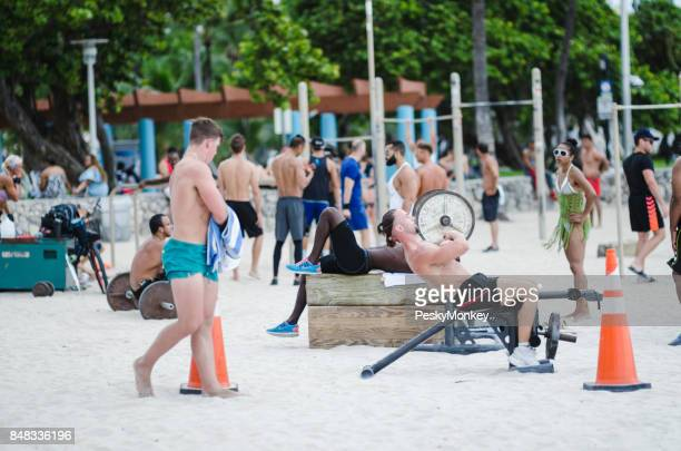 Muscle Beach Outdoor Workout Stations in South Beach Miami