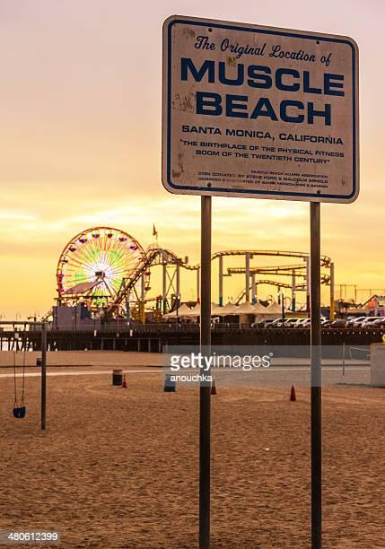 Muscle Beach Sign in Santa Monica, CA, USA