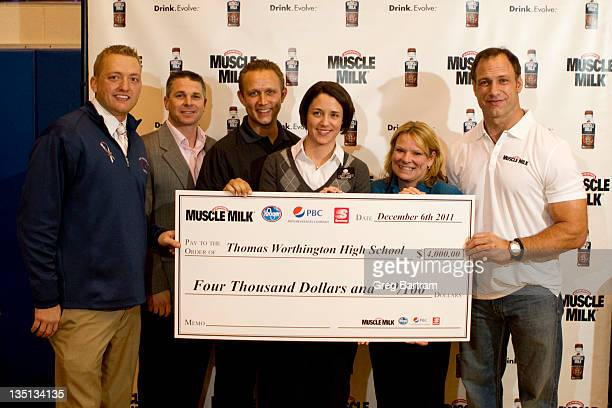 Muscle Milk teams up with Chris Spielman to support high school athletics at Thomas Worthington High School on December 6 2011 in Worthington Ohio...