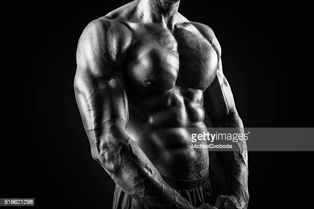 muscular african american man in black and white - torso stock pictures, royalty-free photos & images