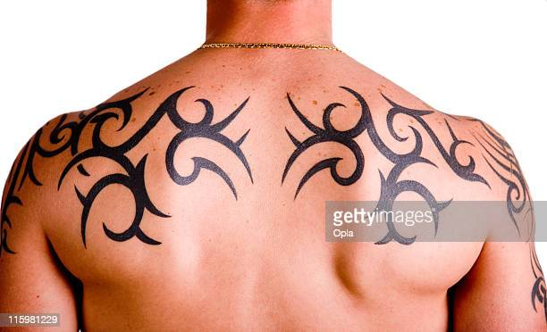 muscular back with tribal tattoo - indigenous culture stock pictures, royalty-free photos & images