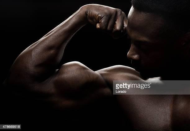 Muscular black male posing