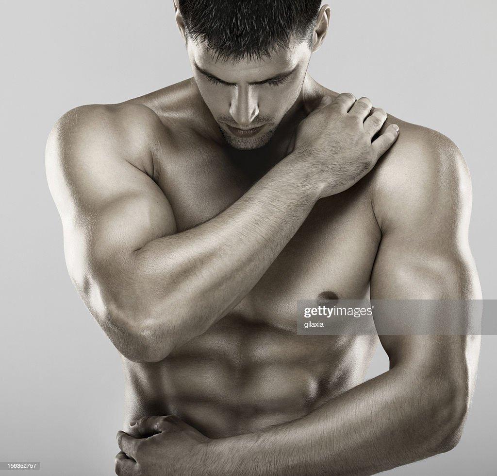 Macho Muscular parte superior do corpo. : Foto de stock