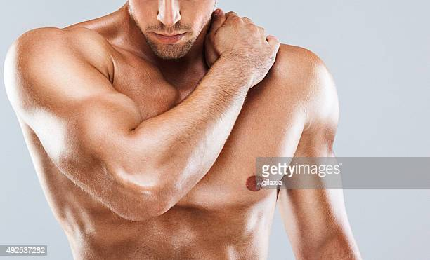 Muscular male upper body.