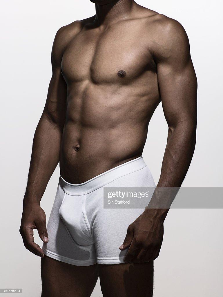 muscular man in boxer-brief underwear : Stock Photo