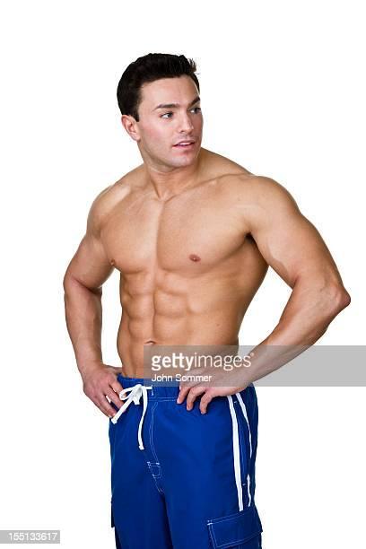 Muscular man looking away