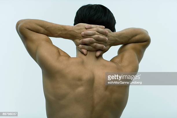 Muscular man with hands clasped behind head, rear view