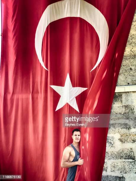 Muscular man with Turkey Flag