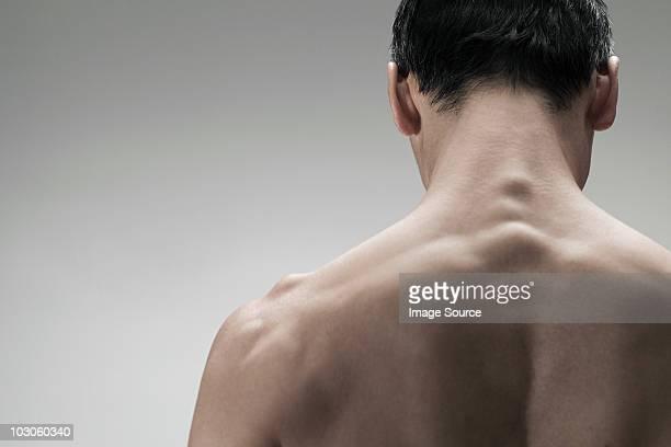 muscular mature man, rear view - hombres desnudos fotografías e imágenes de stock