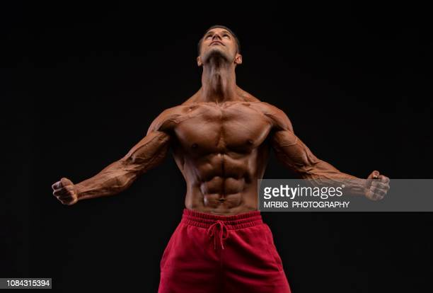 muscular men flexing muscles - body building stock pictures, royalty-free photos & images