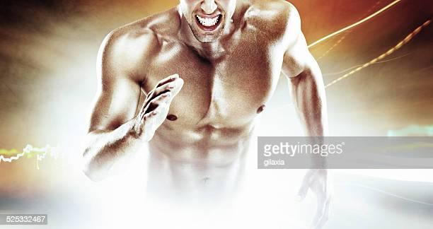 Muscular sprinter.