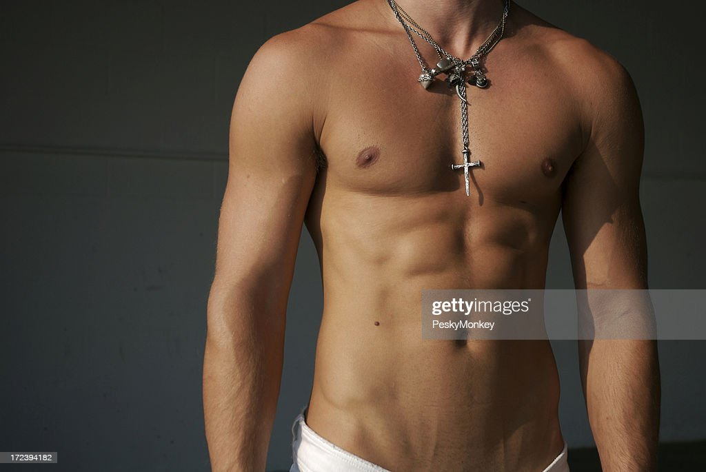 Muscular Torso Man With Bundle Of Necklaces Stock Photo Getty Images