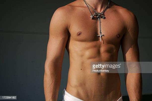 Muscular Torso Man with Bundle of Necklaces